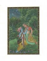Lord Radha Krishna Silk Painting Love Scene Hindu Indian Handmade Original Art