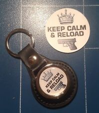 Guns/Shooting 'Keep Calm & Reload' Real Leather Key Rings & Free Sticker