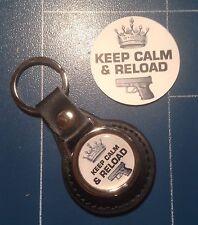 "Armes/tir ""Keep calme & reload"" en cuir véritable porte-clés & free sticker"
