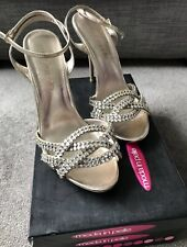 Ladies Moda In Pelle Diamanté High Heeled Strap Shoes  - Size 41 (7.5 UK)