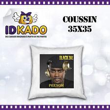 Coussin BLACK M personnalisé avec PRENOM  réf:COU-05 décoration chambre enfant