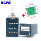 Japan ALPS RK27 Quad-unit 4-gang Channels Volume Potentiometer PCB Slotted Shaft