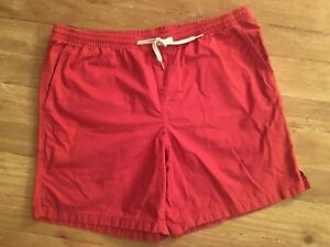 "Lands End  Mens L 36-38  Swim Trunks Shorts Pale Red Elastic Waist 7"" inseam"