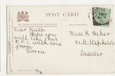 Miss R. Baker, 32 St. Stephens Road, Leicester 1905 Postcard, B097
