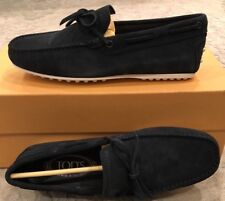 $595 New Tods Lacetto Gommino Black Suede Mens Shoes Size 6.5 US 5.5 UK 39.5 EU