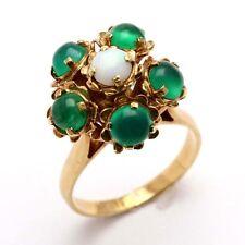 Vintage 14k yellow gold Green Chrysoprase Opal Flower Ring Estate