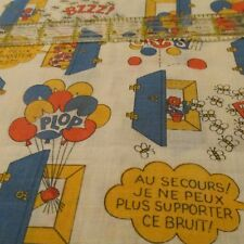 Vtg french words novelty cotton apparel fabric Au Secours HELP noise BTHY