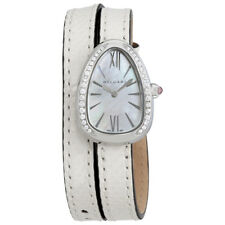 Bvlgari Serpenti White Mother of Pearl Dial Ladies Double Leather Watch 102781