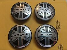 NEW JAGUAR SET OF 4 BLACK ENGLAND FLAG JAG WHEEL HUB CAPS LOGO RIM COVER EMBLEM