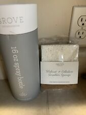 NIB Grove Collaborative 16 oz Glass Spray Bottle Silicone Sleeve Gray + Sponge