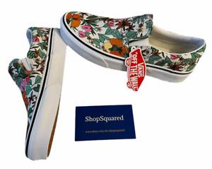 Vans Classic Slip On (Tropic Floral) White Canvas Shoes Sz 8.5 Women's NIB New🔥