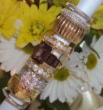 NOS Seta Gold Plated Ring Lot B83 sz 8 - 8 3/4  Smokey Quartz Wide Band CZ Bezel