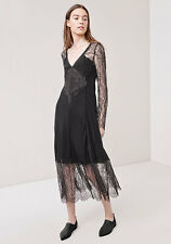 Thakoon Chantilly Lace silk black long sleeves haute evening midi dress NWT 8