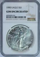 1990 American Silver Eagle Dollar $1 / .999 Pure / Certified NGC GEM BU 🇺🇸