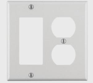 LEVITON Duplex/GFCI/Rocker 2 Gang WALL PLATE Smooth WHITE Plastic 80455-00W