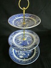 Vintage Blue & White Willow 3 tier Cake stand mismatched plates