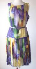 OSCAR DE LA RENTA Watercolor Silk Pleated Dress 10