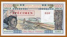 SPECIMEN West African States, Senegal, 5000 (5,000) Fr, 1991 P-708Ks UNC