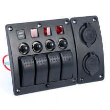 Marine 4 Gang LED Indicators Rocker & Circuit Breaker Waterproof Switches Panel