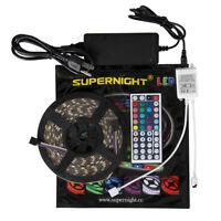 SUPERNIGHT® 5M 300Leds 3528/5050 SMD RGB LED Strip Light & IR Remote & 12V Power