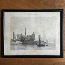 Engraving Antique the Castle of Kroneborg Denmark - Newspaper of Artistes