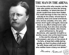 Theodore Roosevelt The Man in the Arena Autograph Quote 8 x 10 Photo #fm2