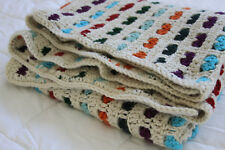 vintage afghan throw blanket striped crochet 1970s style 48 x 48