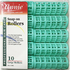 ANNIE SNAP ON ROLLERS #1003, 10 COUNT GREEN LARGE 7/8""