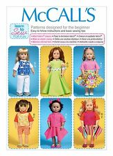 "McCalls SEWING PATTERN M7106 Learn To Sew For Fun 18"" Dolls Clothes"