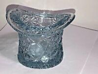 Larger Vintage Top Hat Light Aqua Blue Glass Ashtray Holder Cigar Depression