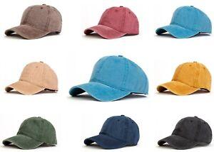 Mens Baseball Cap Plain Womens Cotton One Size Adjustable Boys Summer Hat Peak