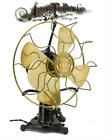 "12"" Western Electric Lollipop Oscillating Antique Brass Desk Fan Blade Cage"
