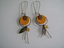 Boucles d'Oreilles Originales Jaune moutarde/Curry/Bronze/ Plume, Nature, Cuir