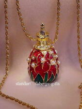 """Russian Imperial Empress Alexandra Romanov """"Lily of Valley Egg Pendant Necklace"""