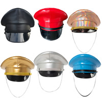 Thailand Military Cap PU Leather Hat Performance Stage Show Night Bar Cosplay