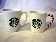 Pair of Starbucks Coffee Mugs One Candy Stripe Different Shapes