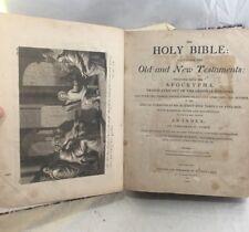 Great Orig. 1812 Holy Bible Mathew Carey Philadelphia Engravings & Fold Out Maps