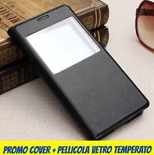 CUSTODIA COVER PER SAMSUNG GALAXY S6 VIEW IN PELLE + PELLICOLA  PLASTCA O VETRO