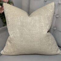 "Decorative Cushion Cover 18"" Natural Cream Beige Herringbone Design, Handmade"