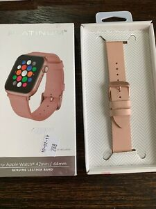 GENUINE Platinum Leather Band for Apple Watch 42mm/44mm Pink OPEN BOX! NEW!