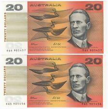 Australia 'Fraser - Cole' $20 (1991), Crisp Uncirculated (Consecutive Pair)