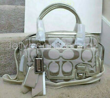 COACH 18356 POPPY SIGNATURE C PUSHLOCK SATCHEL SHOULDER BAG Khaki Silver NEW