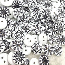 50pc 15mm snowflake Wood Button Kid's Sewing Crafts Accessories WB372