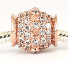 GENUINE 9CT 9KT SOLID ROSE GOLD Big BEAD 68Cz all around For Bracelet / Necklace