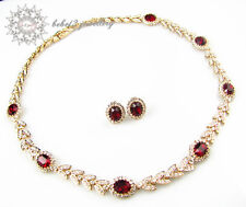 Wedding/Party Classic Necklace&Earring Set/Simulated Ruby Crystal /RS015G