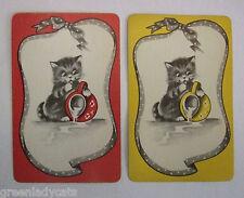 2 x VINTAGE PLAYING/SWAP CARDS - CUTE KITTEN & MILK JUG - MATCHING PAIR