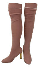 CAPE ROBBIN SOCK BOOTS Women Size 7.5 US Pink Rose Sweater Boots Thigh High Heel