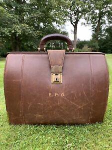 Large Vintage Brown Leather Doctors Case Briefcase Bag