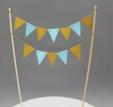 Blue Gold mini bunting Flag Cake Topper Happy Birthday Party Baby Shower Boy