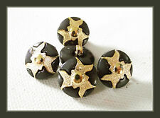 6 BOUTONS doré et noir * 15 mm  1,5 cm pied queue * button gilt lot étoile